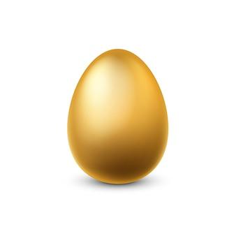 Золотое яйцо. традиционное пасхальное золотое сверкающее реалистичное роскошное куриное яйцо для весенних праздников, финансового успеха и символа денежной прибыли, желтый металлический сувенир 3d единый вектор изолированных иллюстрация