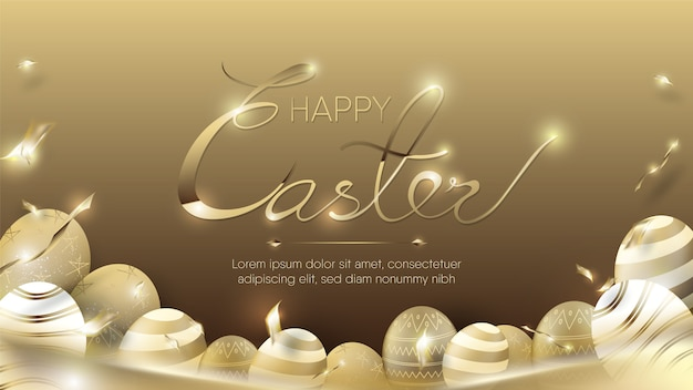 Gold eggs and confetti for happy easter template