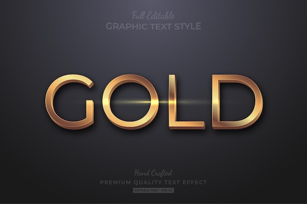 Gold elegant editable text effect font style