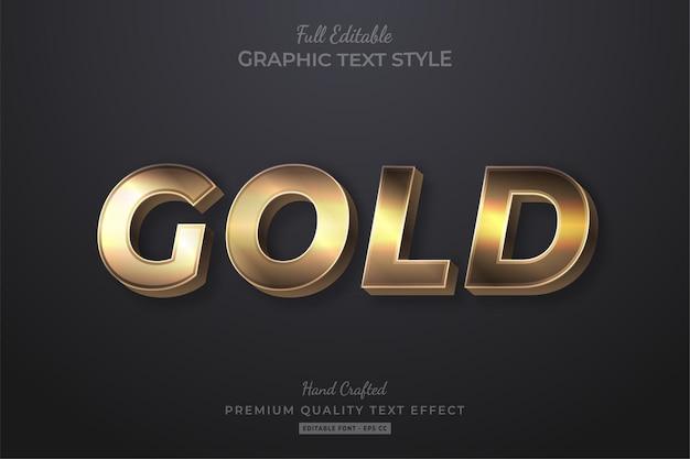 Золотой элегантный редактируемый текстовый эффект стиля шрифта