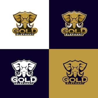 Gold elephant head logo