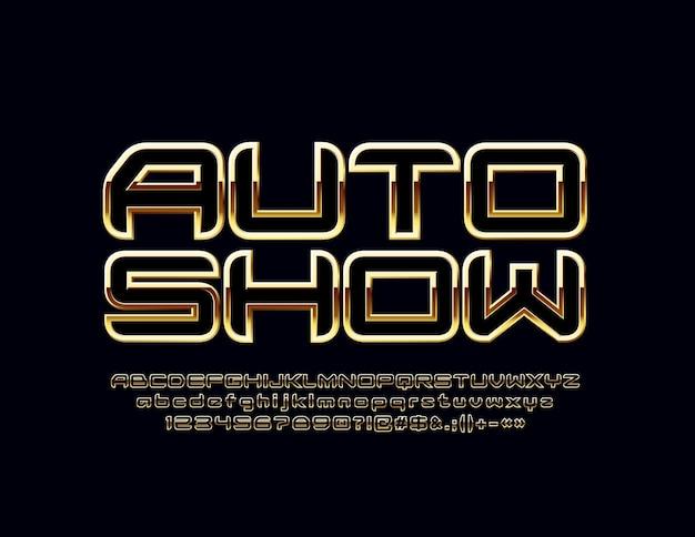 Золотая эмблема автосалона. яркий элегантный шрифт. роскошные буквы алфавита, цифры и символы.