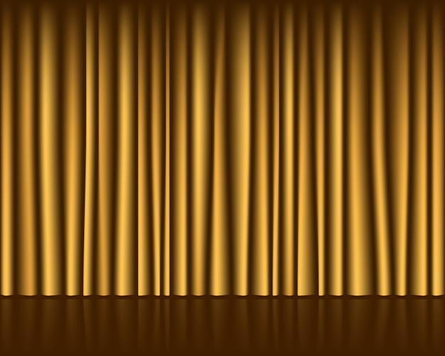 カーテンのシームレスなテンプレートとゴールドの空のステージ