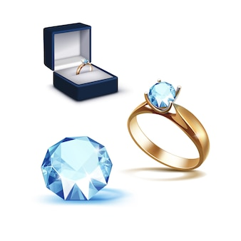 Gold engagement ring light blue shiny clear diamond jewelry box
