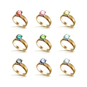 ゴールドエンゲージメントリングレッドピンクブルーグリーンブラックホワイトダイヤモンド