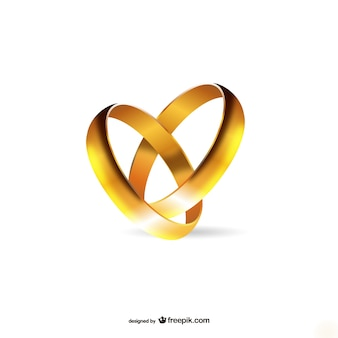 Золотые обручальные кольца Бесплатные векторы