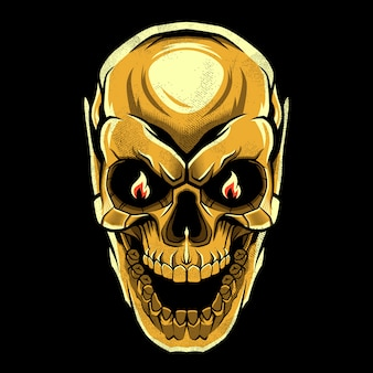Gold evil skull  design