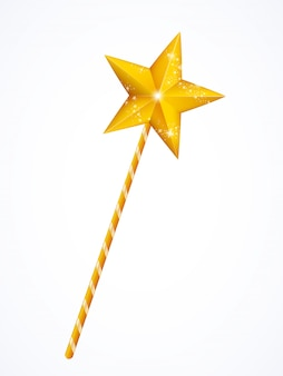 Gold fairy magic wand, princess stick with star