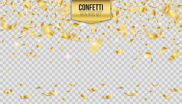 Gold falling shiny confetti glitters background.