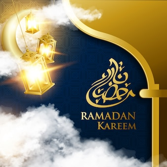 Gold fanous lantern for ramadan kareem festival with arabian calligraphy text and crescent moon.