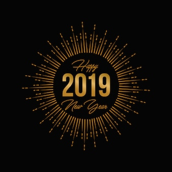 Gold fireworks new year 2019 greeting card and logo