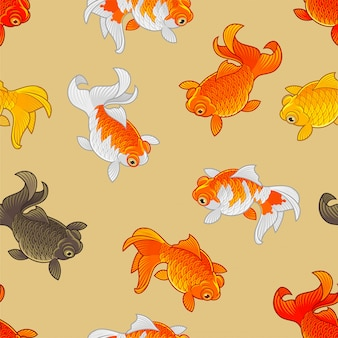 Gold fish seamless pattern for background