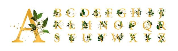 Набор золотой цветочный алфавит
