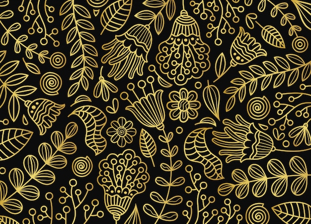 Gold floral botanical pattern background