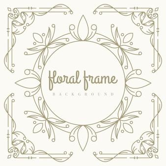 Gold floral frame background template