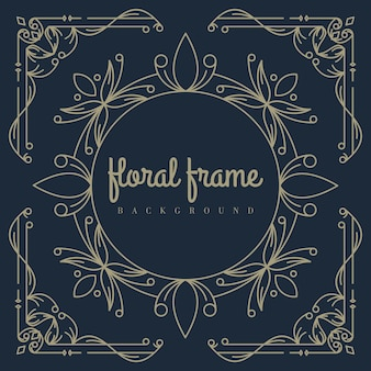Gold floral frame background template