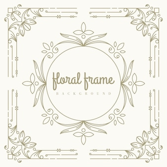 Gold floral frame template