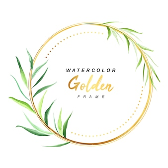 Gold floral frame watercolor
