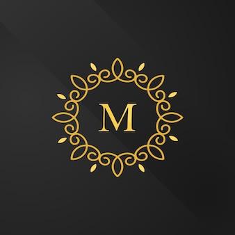 Gold floral monogram design template, lineart logo design