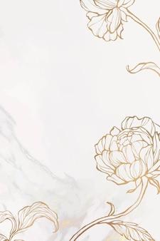 大理石の背景ベクトルに金の花のアウトライン