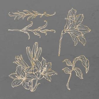 Gold floral outline set