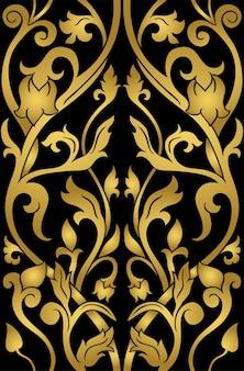 ゴールドの花柄。黒の背景に細線細工の飾り。壁紙、テキスタイル、カーペット用のエレガントなテンプレート。