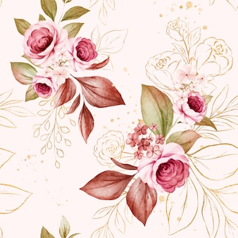 Gold floral seamless pattern of burgundy and peach watercolor roses and wild flowers arrangements