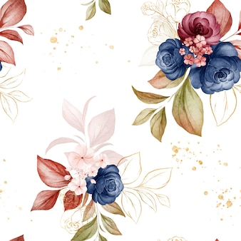 Gold floral seamless pattern of navy blue and brown watercolor roses and wild flowers arrangements
