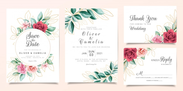 Gold floral wedding invitation card template set with flowers decoration and outlined glitter leaves