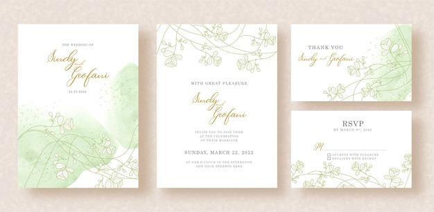 Gold florals vector and splash watercolor background on wedding invitation card template