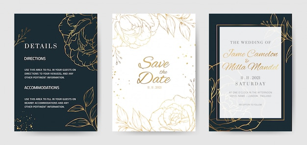 Gold flower blue background wedding invitation template with golden rose peony flowers.