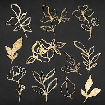 Gold flower hand drawn illustration vector set, remixed from vintage public domain images