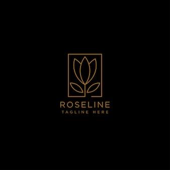 Gold flower line beauty premium simple logo template vector icon element