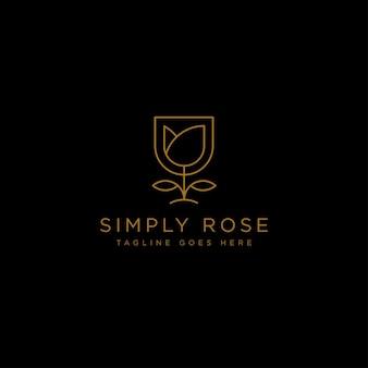 Золотая цветочная линия красоты премиум простой логотип шаблон вектор значок элемент