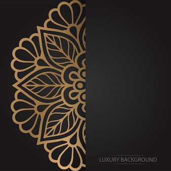 Gold flower mandala on dark background