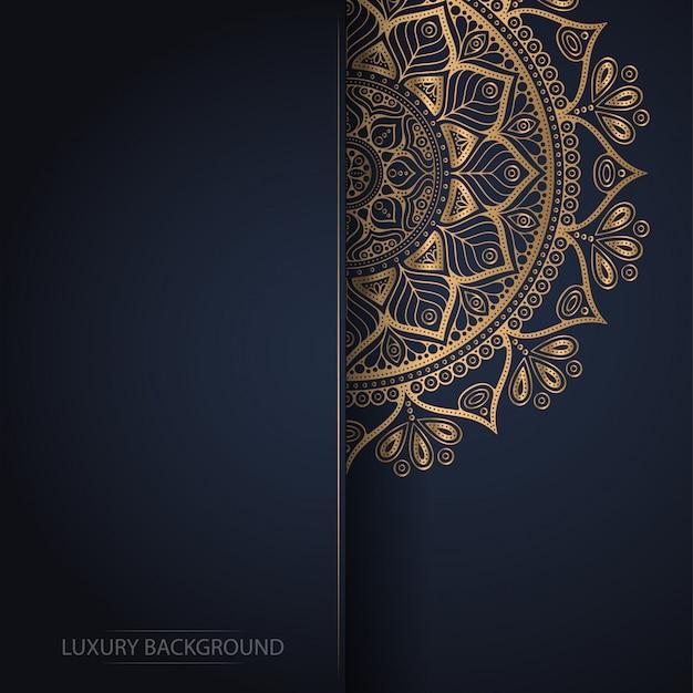 Gold flower mandala on dark background