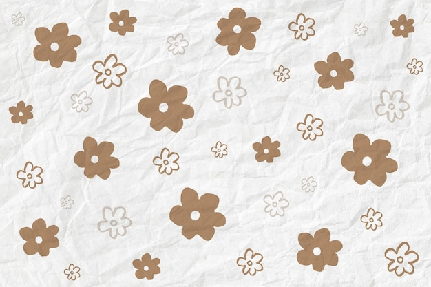 Gold flower pattern vector on crumpled paper textured background