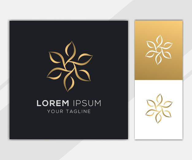 골드 꽃 꽃잎 추상적 인 로고 세트 템플릿