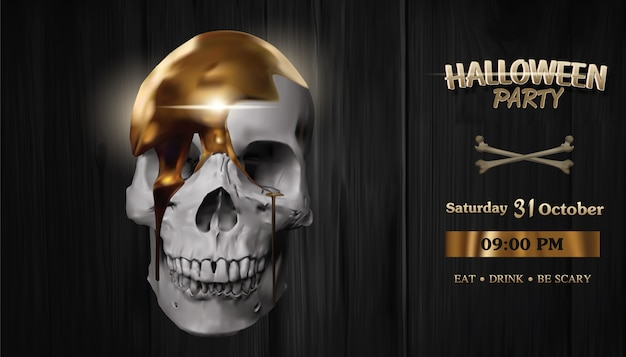 Gold flows on the skull, halloween party banner