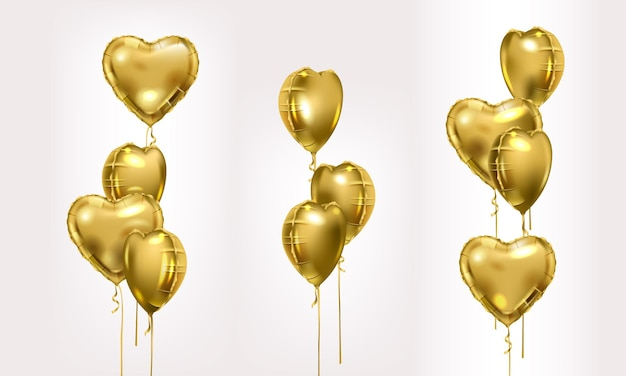 Gold foil air balloons set. collection of different golden bunch of heart shaped balloons. party compositions.