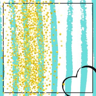 금박 배경입니다. 약혼 입자. 청록색 글로우 제안. 보육 그림입니다. 민트 홀리데이 매거진. 황금 반짝이 디자인. 장식 프레임입니다. 스트라이프 금박 배경