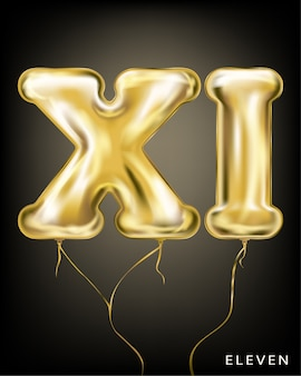 Gold foil balloon xi form on the black
