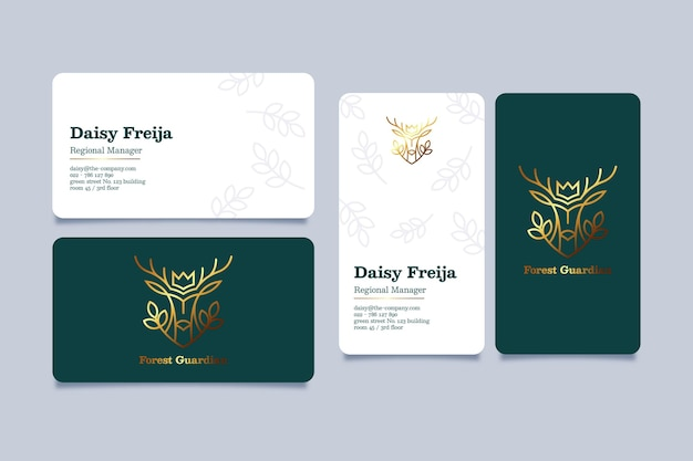 Gold foil business card template set