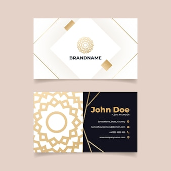 Gold foil floral business card template