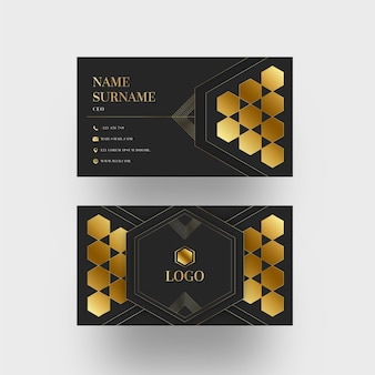 Gold foil geometric shapes business card template