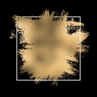 Gold foil splatter with white frame on a black