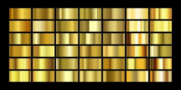 Набор текстур золотой фольги, изолированные на черном