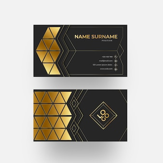 Gold foil triangles business card template