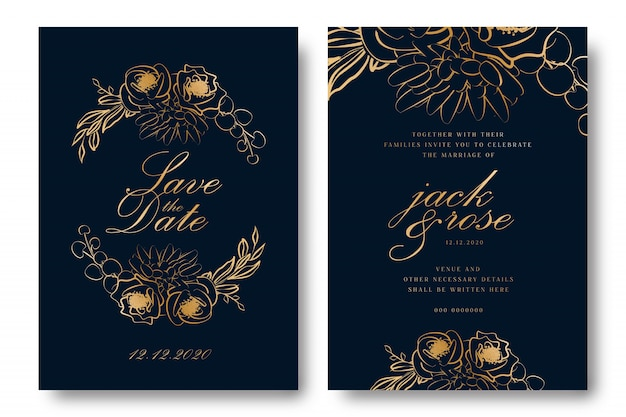 Gold foil wedding invitation card