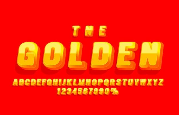 ゴールドフォントセットコレクション文字と数字記号ベクトル